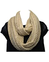 Super Soft Acrylic/Wool Chunky Knitted Circle Loop Scarf-Almond