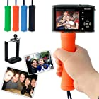 First2savvv ZP-B-07 orange Self-portrait telescopic handheld Pole Arm monopod Camcorder/Camera/mobile phone tripod mount adapter bundle for Canon PowerShot SX240 HS PowerShot SX260 HS OLYMPUS SH-25MR SH-21 TG-1
