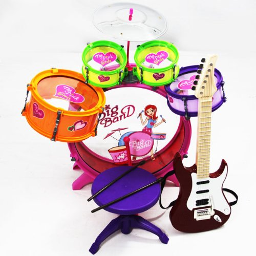 Girl Toy Children Drum Set Kids Musical Electric Guitar