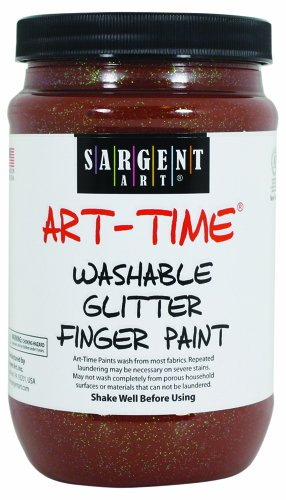 Sargent Art 22-9288 16-Ounce Art Time Washable Glitter Finger Paint, Brown - 1