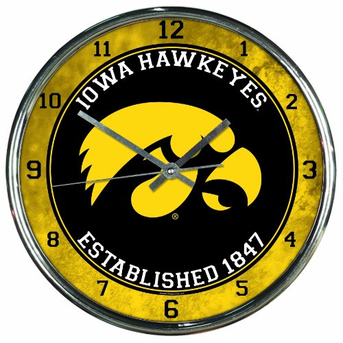 NCAA Iowa Hawkeyes Chrome Clock