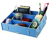Soyoo DIY Multifunction Office Cosmetics Desk Organizer Box Partition Blue