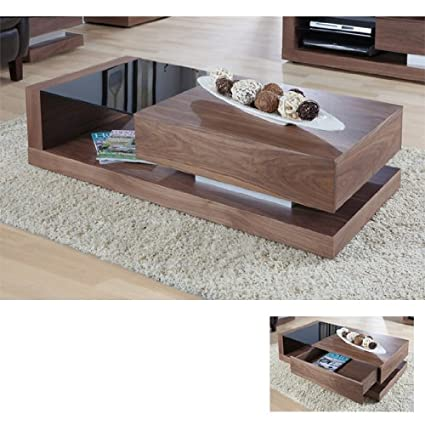 Walnut Black Glass Coffee Table JF613CT