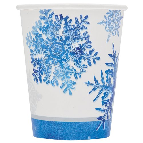 8 Count Snowflakes Paper Cups, 9-Ounce