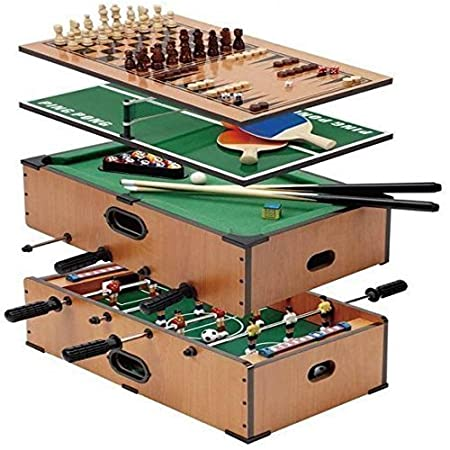 DELUXE JEU DE TABLE SET 5 EN 1 FOOTBALL TENNIS JACQUET D'ÉCHECS BILLARD STRUTURE
