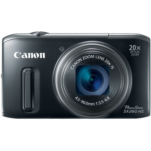Product View about Canon PowerShot SX260 HS 12.1 MP CMOS Digital Camera with 20x Image Stabilized Zoom 25mm Wide-Angle Lens and 1080p Full-HD Video (Black)