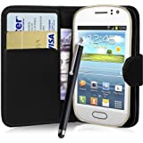 fi9® SAMSUNG GALAXY FAME GT-S6810 S6810P BOOK WALLET FLIP PU LEATHER CASE COVER POUCH + SCREEN PROTECTOR + STYLUS PEN (BLACK)