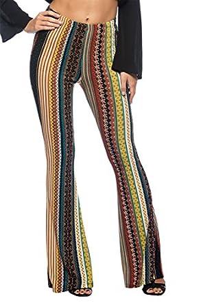 2019 Flare Pants Boho Women Striped Printed Hippie Pants ... |Hippie Striped Pants