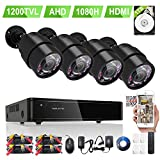 ELEC 4 1080P 1200+TVL Cameras Security System 8Channel DVR 1TB Hard Drive Black
