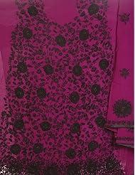 Exotic India Wild-Aster Purple Phulkari Salwar Kameez Fabric From Punja - Purple