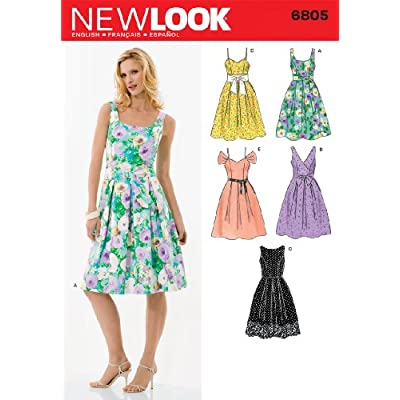 Amazon.com: New Look Sewing Pattern 6805 Misses Dresses, Size A (6-8