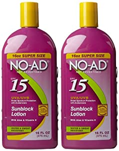 No AD Sunblock Lotion SPF 15-16 oz, 2 pk