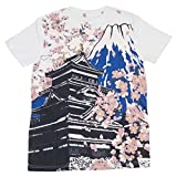 CROSSROAD Japanese Castle Mount Fuji Sakura Print Men's T-shirts t215323(XL, White)