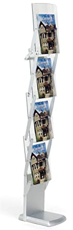 Displays2go 62-Inch Tall Tradeshow Literature Rack with Collapsible 4 Pocket Design Packs Into Included Carry Bag (VR4SLV)