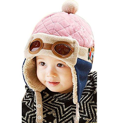 Feng New Jungen Winter Warm Cap Hat Mütze Pilot Aviator Crochet Mützen mit Ohrenklappen, Textil, natur, about 50cm