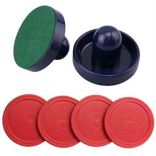 Jollylife-Set-of-2-Blue-Air-Hockey-Pushers-and-4-Red-Pucks