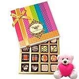 Valentine Chocholik Premium Gifts - Smooth Elegance Of Dark And White Truffles And Chocolates With Teddy