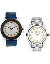 Ra'len Analog White And White Dial Men's Watch - GR-W-0021 (Pack Of 2)