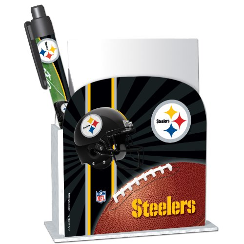 Pittsburgh Steelers Stationery Desk Caddy with Matching Ballpoint Grip Pen - NFL (12019-QUW)
