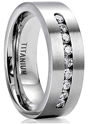 Jstyle Titanium Engagement Rings for Men Promise Ring Jewelry 8mm