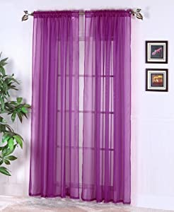 purple sheer panel window treatment curtains
