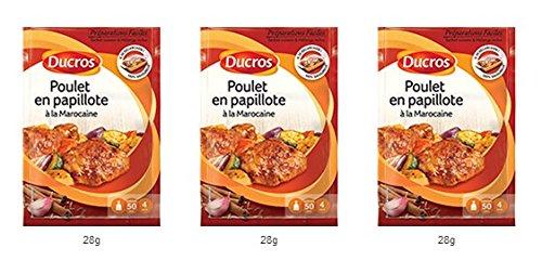 DUCROS - Solutions Cuisson - Preparations Faciles en papillote -Poulet en papillote a la marocaine - 28 g - lot de 3