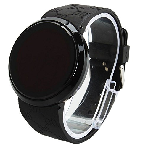 New Black Men'S Digital Led Circle Wrist Touch Screen Watch Water Resistant