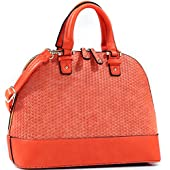 Dasein Dome Zip-Around Flat Bottom Fashion Ipad Bag, Handbag - Orange