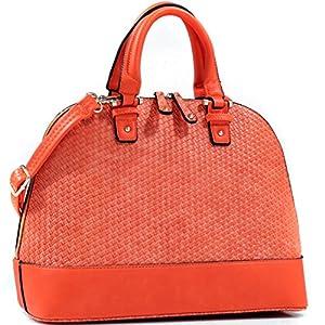 Dasein Dome Zip-Around Flat Bottom Fashion Ipad Bag, Handbag - Orange