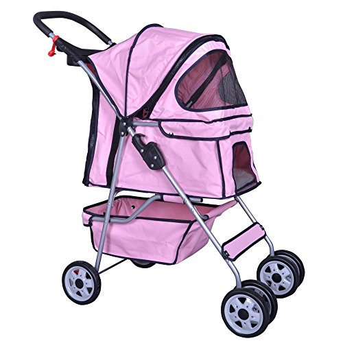 Pink 4 Wheels Pet Stroller Cat Dog Cage Stroller Travel Folding Carrier 04T