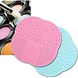 KINGLAKE2 Pcs Makeup Brush Cleaner Brush Cleaning Mat High Quality Silicone Cleaning Pad Cosmetic Brush Mini Washing...