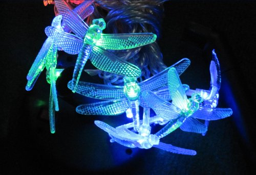 LED SOLAR STRING FAIRY LIGHTS WITH 20 x COLOUR CHANGING 3D FIBRE OPTIC DRAGONFLY / DRAGONFLIES ** EXCELLENT OUTDOOR SOLAR GARDEN LIGHTS FOR THE PATIO, BALCONY, PARTYS, ETC **