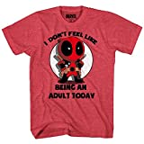 Marvel Deadpool Don't Feel Like Bein An Adult T-shirt (Large, Heather Red) (Color: Heather Red, Tamaño: Large)