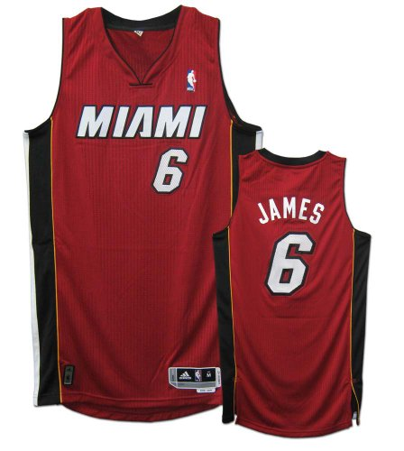 ce147ee40be0 LeBron James Miami Heat  6 Revolution 30 Authentic Adidas NBA Basketball  Jersey (Alternate Red