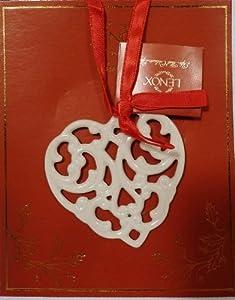 Lenox Charms Ivory China Pierced Heart Christmas Ornament