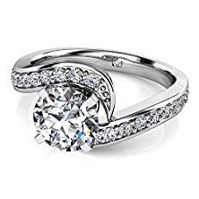 buy 14Kt White Gold A Bold Swirl Of Diamonds Flows Up From The Band To Encircle The Central Round Brilliant Diamond Of Your Choice In This Stunning New Twist On The Classic Halo Engagement Ring. 1/4 Ctw Near-Colorless Color Si1-Si2 Clarity