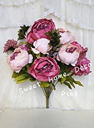 Sweet Home Deco 18\'\' Super Soft Blooming Peonies and Hydrangeas Silk Artificial Bouquet (13 Stems/6 Flower Heads) (Pink)