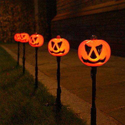 5 au en herbst halloween k rbis steck leuchten leds orange von festive lights. Black Bedroom Furniture Sets. Home Design Ideas