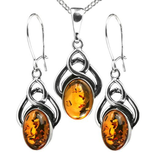 Certified Genuine Baltic Honey Amber and Sterling Silver Celtic Pendant and Earrings Set, 18