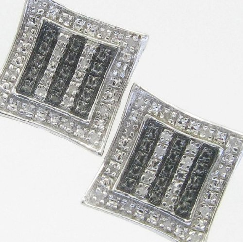 Mens 925 Sterling Silver earrings fancy stud hoops huggie ball fashion dangle black and white 3 line pave earrings