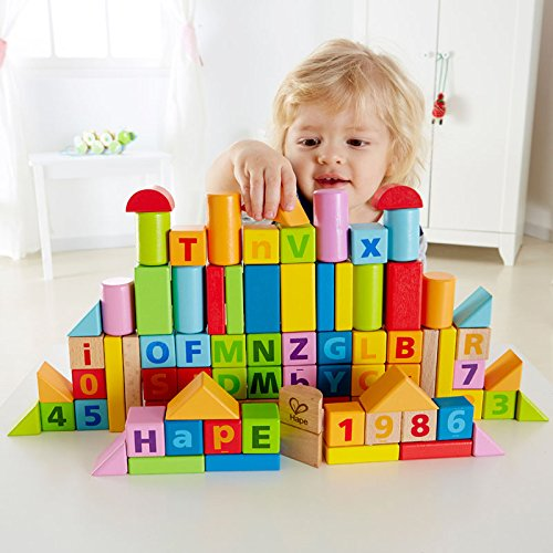 Hape - Wooden Blocks / 80 pcs / Solid Beech Wood/ International Best Selling item - NEW to U.S.A / Amazon Exclusive JungleDealsBlog.com