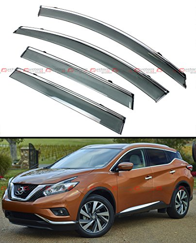 clip-on-type-smoke-window-visor-w-chrome-trim-for-2015-2016-nissan-murano-suv