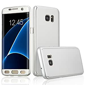 Xelcoy 360 Degree Full Body Protection Front & Back Slim Hybrid Case Cover With Tempered Screen Protector for Samsung Galaxy S7 EDGE - Silver