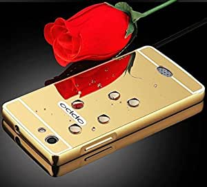 VAV New Luxury Metal Bumper + Acrylic Mirror Back Cover Case For Oppo Neo 5 (2015) - (Gold)