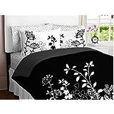Black White Flower Girls TWIN Comforter Set Bed in a Bag Set