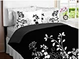 51aL6ix6WmL. SL160  Black White Flower Girls TWIN Comforter Set Bed
