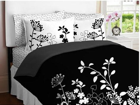 Black White Flower Girls TWIN Comforter Set Bed in a Bag Set