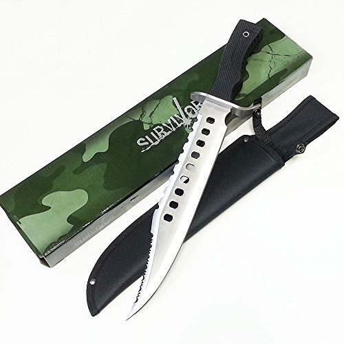 RAMBO 17 Inch Heavy Duty Tactical Combat Hunting Fixed Blade Survival Knife Bowie With Sheath