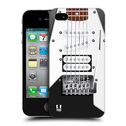 Head Case Designs Black Electric Guitar Protective Snap-On Hard Back Case Cover For Apple Iphone 4 4S