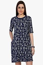 Funk For Hire Women Cotton Sinkar knit Wall printed sleeved Short Dress (Navy Blue, Size XL)